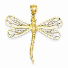 14K Two-tone Diamond-cut Filigree Dragonfly Pendant - $245.00
