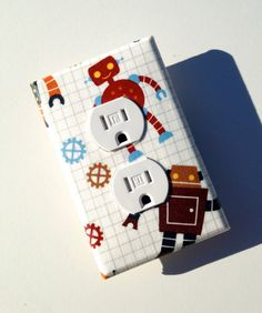 Robot Nursery Outlet Plate Cover / Baby Boy / Children Kids Room Decor / Red, Orange, Maroon, Blue via Etsy