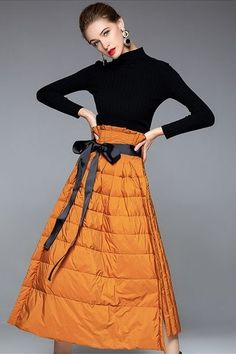 Skirt Outfits, Fall Outfits, Casual Outfits, Women's Fashion Dresses, Skirt Fashion, Urban Fashion, Womens Fashion, Fashion Trends, Quilted Skirt
