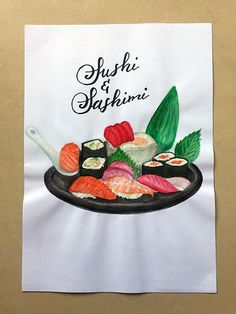 Sushi and sashimi - Watercolor handmade paint #art #watercolor #creativelettering #brushlettering #etsy #etsyseller #etsyshop