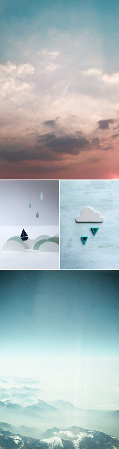 love this beautiful photo of the sky & its reinterpretation as tiny ceramic clouds & raindrops ~ created by My Little Fabric blog