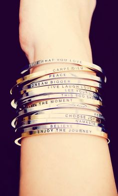 Stackable Inspiration Bracelets?! Thanks for the perfect stocking stuffer MantraBand! <3 I WANT THEM ALL