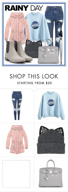 """""""Rain"""" by neko4life ❤ liked on Polyvore featuring Topshop, Marc New York, Silver Spoon Attire, Menu, Hermès and Fulton"""