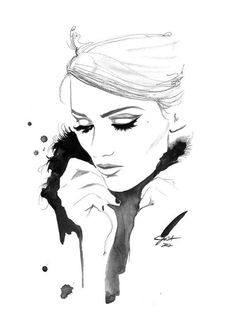 .Print from original watercolor and charcoal fashion illustration by Jessica Durrant titled I Remember You