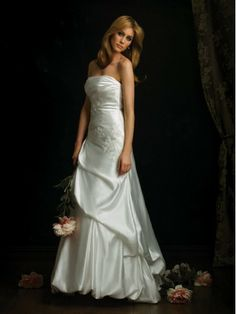 Charmeuse Strapless Fitted Bodice A-line Wedding Dress