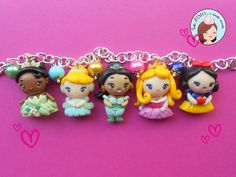 Disney Princess Bracelet  #Disney #Princess #Tiana #Cinderella #Jasmine #Aurora #SnowWhite #Fimo #PolymerClay
