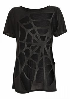Spiderweb Cut Shirt -no how to, but pretty self explanatory. No sewing involved, but if you didnt want it to sag, you might want to run the main 'threads' through the machine for support