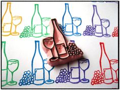 Wine bottle and glass hand carved rubber stamp $10.99