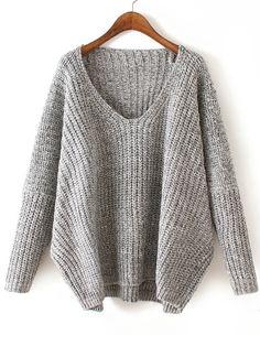 V Neck Chunky Knit Pale Grey Dolman Sweater -SheIn(abaday)
