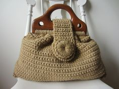 vintage unique sand colored wooden handled crocheted by rewanted, $37.00