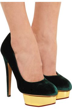 Charlotte Olympia - The Dolly Velvet Pumps - Emerald - IT41