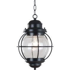 Illuminate your kitchen island or breakfast nook with this stylish pendant, showcasing a nautical lantern design and seeded glass shade.