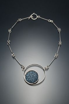 Necklace with sgrafitto enamel by Angela Gerhard