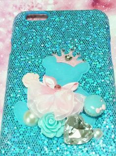 ALL iPhone & Samsung Galaxy Note phone caseBaby blue teddy bear glittering case