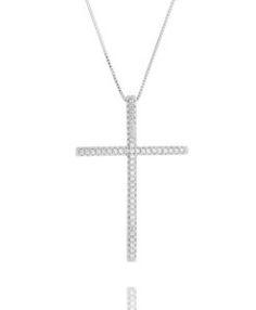 crucifixo prata cravejado zirconias semi joias