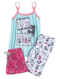 Find the latest in colorful and comfy sleepwear sets for girls at Justice! Shop cute pajamas in tons of fun prints and designs to match her individual style with our collection of sleepwear tops, bottoms, onesies and more. Cute Pjs, Cute Pajamas, Girls Pajamas, Tween Fashion, Fashion 101, Girl Fashion, Fashion Outfits, Fashion Clothes, Justice Clothing