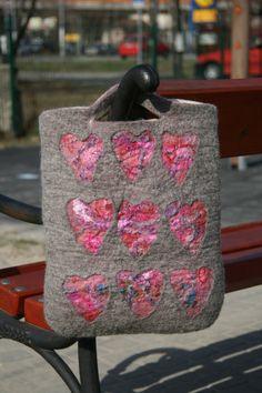 Felted purse handbag in gray grey and pink OOAK Lunawork Felt Affair