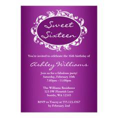 Purple Flourish Swirl Frame Sweet 16 Birthday Announcements