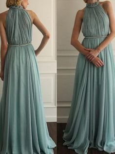 simple prom dresses A-line Scoop Floor-length Chiffon Prom Dress/Evening Dress #MK015