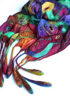 Nuno Felted Scarf by FeltedPleasure (Marina Shkolnik, Moscow, Russia), via Flickr - such lovely colours.