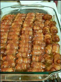 best cooking recipes 2015: BACON WRAPPED SMOKIES WITH BROWN SUGAR AND BUTTER