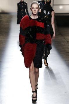 #Red and #Blue and #Black all-over. In #fur to boot. | Prabal Gurung RTW Fall 2013 - Slideshow - Runway, Fashion Week, Reviews and Slideshows - WWD.com