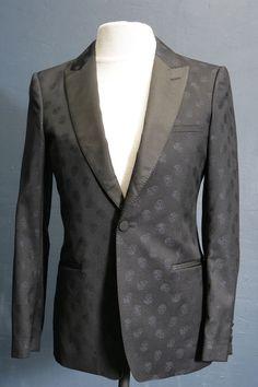 Mens designer blazer by Alexander McQueen black skull pattern evening wear 38/40