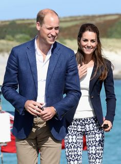 Prince William, Duke of Cambridge and Catherine, Duchess of Cambridge arrive on the Island of St Martin's in the Scilly Isles.