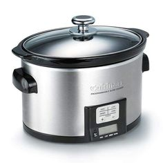 """Cuisinart 3.5-Quart Oval Slow Cooker $59.99 - Item# 198-450 #Shop now @ youravon.com/4me  Stainless steel with dishwasher safe ceramic insert, LED timer display, 4 cooking modes, recipe booklet included 14"""" x 16.5"""" x 12"""".  A sleek ceramic pot lifts out for serving.  #avonrep #kitchenware #cooking #slowcooker #holidaysale #gifs"""