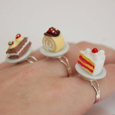 Kitsch and Kawaii Cakes on Porcelain Plates Rings by JayneKitsch