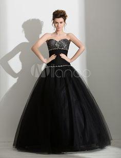462d4e865798c Black Wedding Dress Rhinestone Beaded Sweetheart Organza Floor-Length Ball  Gown  Rhinestone