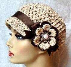 Crochet el sombrero de mujer, vendedor de periódicos, avena, acrílico suave, flor, cinta marrón, caliente, adolescentes, sombrero de primavera, JE111N7