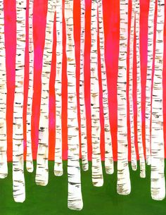 Pink Birch Tree Print