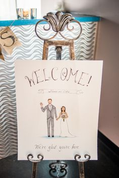 Wedding Bride and Groom Caricature Hand Drawn Welcome Sign