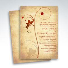Autumn Wedding Invitation Rustic Vine Leaf Berry Invitations Weddings And Leaves