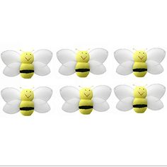 Bumblebee Decor 2 Yellow Mini XSmall Smiling Nylon Mesh Bumble Bees 6 Piece Decorations Set Decorate Baby Nursery Bedroom Girls Room Wall Wedding Birthday Party Shower Crafts Invitations DIY -- Continue to the product at the image link.