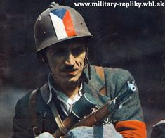 Czech resistance fighter during the Prague uprising Ww2 Uniforms, Army Uniform, Poster Pictures, Dieselpunk, Military History, Armed Forces, 2 Colours, Prague, World War Ii