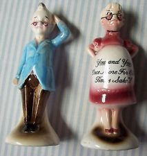 Antique Vintage Salt and Pepper shakers, pregnant grandmother and grandfather