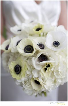 Bridal bouquet with hydrangeas and black eyed anemones, so beautiful
