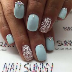 Pastel Blue and White Prom Nails