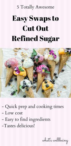 Struggling to cut out refined sugar from your diet? Check out these five easy yummy diet swaps you can start making today to cut out refined sugar. Healthy Carbs, Healthy Diet Tips, Healthy Foods To Eat, Healthy Lifestyle, No Sugar Diet, No Sugar Foods, Nutrition Resources, Sugar Intake, Low Carb Diet Plan
