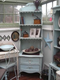 nightstand and hutch (or bookcase turned into a hutch) The Shabby Cottage Home: Furniture Gallery Home Furniture Shopping, Cottage Furniture, Deco Furniture, Refurbished Furniture, Repurposed Furniture, Unique Furniture, Shabby Chic Furniture, Furniture Projects, Furniture Makeover
