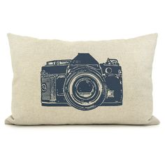 Personalized pillow case - Vintage camera print with your color print on your choice of fabric - 12x18 or 16x16 decorative pillow cover via Etsy