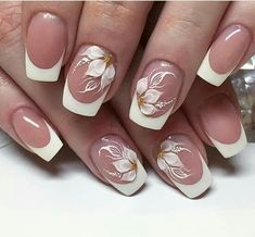 Manucure - Manucure The Effective Pictures We Offer You About diy A quality picture can tell you many things. Flower Nail Designs, Flower Nail Art, Nail Art Designs, Cute Nails, Pretty Nails, Bride Nails, Wedding Nails Design, French Tip Nails, White French Nails