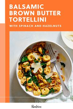 This balsamic brown butter tortellini with spinach and hazelnuts starts with store-bought pasta but tastes like it took all day to make. #spinach #tortellini #recipe Italian Sausage Ingredients, Italian Sausage Soup, Baby Food Recipes, Food Baby, Veg Recipes, Cooking Food, Vegetarian Cooking, Vegetarian Cheese, Vegetarian Recipes