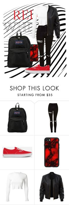 """""""Outfit15"""" by nadaabdelsalam on Polyvore featuring JanSport, Topshop, Vans, Casetify, Rosetta Getty and LE3NO"""