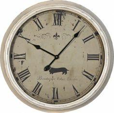 Etonnant Large White Metal Wall Clock