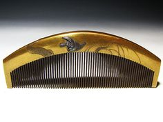 [Peach] antique hair ornaments: gold lacquer and ginkgo spring willow swallow Figure comb _ image 1
