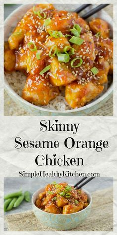 Skinny Orange Sesame Chicken _ Sweet orange, chili glazed goodness! This classic Asian dish gets a healthy makeover. Crispy chicken bites smothered in a sweet, tangy orange sauce, with a subtle chili kick is really very tempting. Garnish with toasted sesame seeds & green onions!