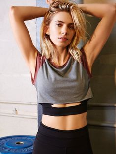 Heavy Hitter Crop | Simple sporty crop featuring an easy, comfy fabrication and unfinished edges for a lived-in look. Contrast color at the sleeves and rounded neckline.